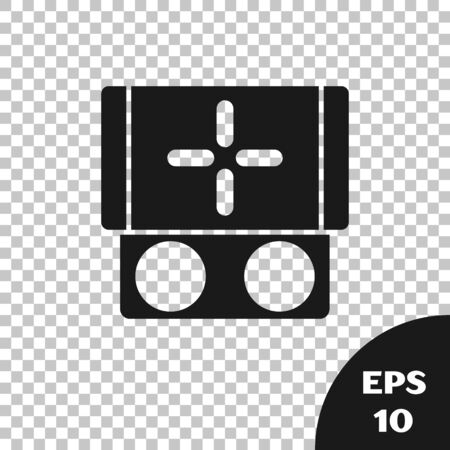 Black Portable video game console icon isolated on transparent background. Gamepad sign. Gaming concept. Vector Illustration