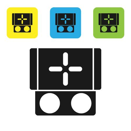 Black Portable video game console icon isolated on white background. Gamepad sign. Gaming concept. Set icons colorful square buttons. Vector Illustration