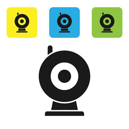 Black Web camera icon isolated on white background. Chat camera. Webcam icon. Set icons colorful square buttons. Vector Illustration Vettoriali