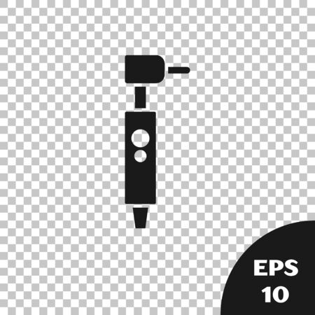 Black Tooth drill icon isolated on transparent background. Dental handpiece for drilling and grinding tools. Vector Illustration