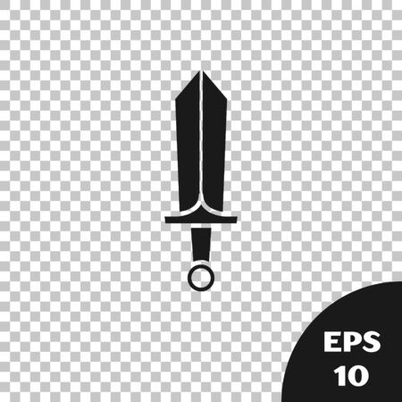 Black Sword for game icon isolated on transparent background. Vector Illustration