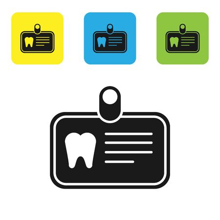 Black Id card with tooth icon isolated on white background. Set icons colorful square buttons. Vector Illustration Vectores