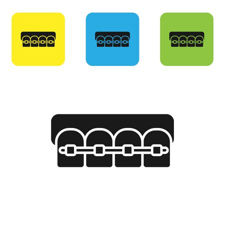 Black Teeth with braces icon isolated on white background. Alignment of bite of teeth, dental row with with braces. Dental concept. Set icons colorful square buttons. Vector Illustration