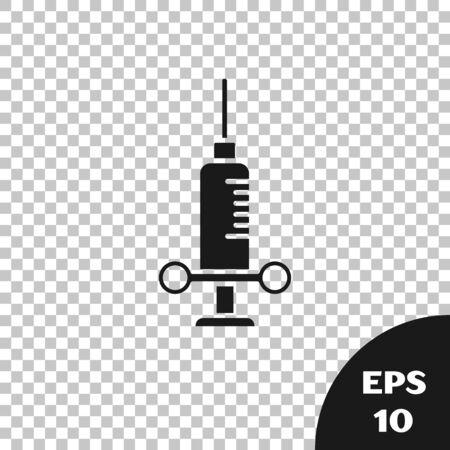 Black Dental medical syringe with needle icon isolated on transparent background. Vector Illustration