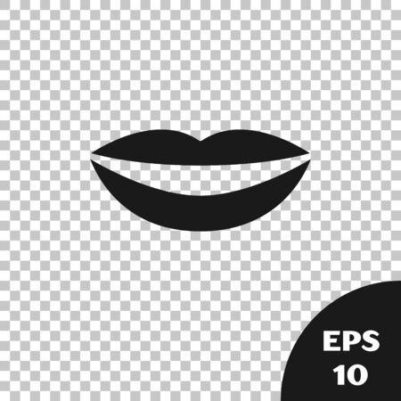 Black Smiling lips icon isolated on transparent background. Smile symbol. Vector Illustration