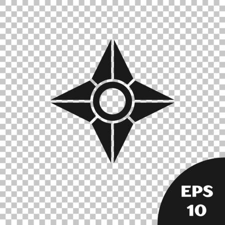 Black Japanese ninja shuriken icon isolated on transparent background. Vector Illustration