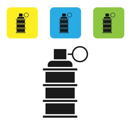 Black Hand grenade icon isolated on white background. Bomb explosion. Set icons colorful square buttons. Vector Illustration