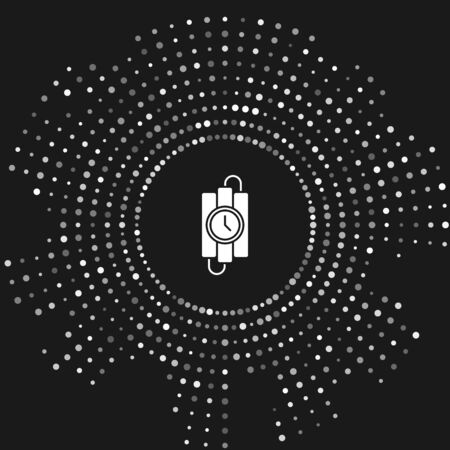 White Detonate dynamite bomb stick and timer clock icon isolated on grey background. Time bomb - explosion danger concept. Abstract circle random dots. Vector Illustration