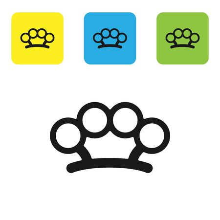 Black Brass knuckles icon isolated on white background. Set icons colorful square buttons. Vector Illustration Archivio Fotografico - 136747898