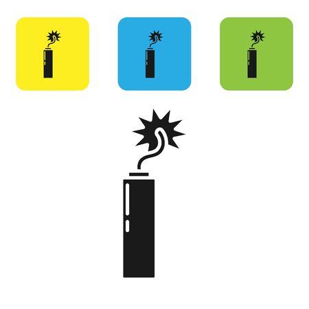 Icône d'horloge de bâton de bombe de dynamite de détonation noire d'isolement sur le fond blanc. Bombe à retardement - concept de danger d'explosion. Définir des icônes de boutons carrés colorés. Illustration vectorielle