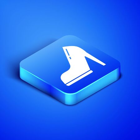 Isometric Woman shoe with high heel icon isolated on blue background. Blue square button. Vector Illustration