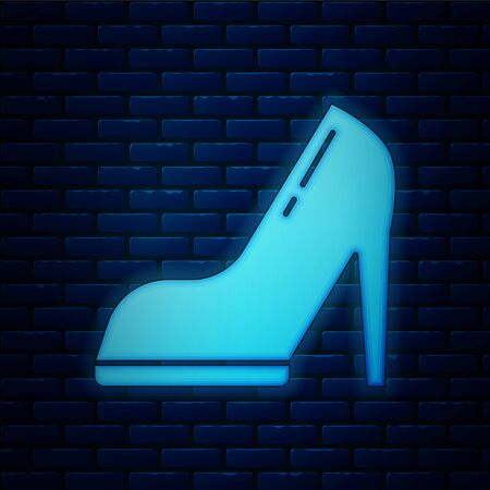 Glowing neon Woman shoe with high heel icon isolated on brick wall background. Vector Illustration