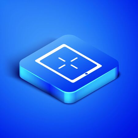 Isometric Portable video game console icon isolated on blue background. Gamepad sign. Gaming concept. Blue square button. Vector Illustration