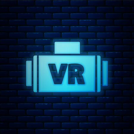 Glowing neon Virtual reality glasses icon isolated on brick wall background. Stereoscopic 3d vr mask. Vector Illustration Illustration