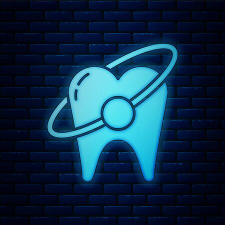Glowing neon Tooth whitening concept icon isolated on brick wall background. Tooth symbol for dentistry clinic or dentist medical center. Vector Illustration