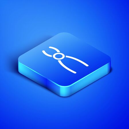 Isometric Dental pliers icon isolated on blue background. Dental equipment. Blue square button. Vector Illustration