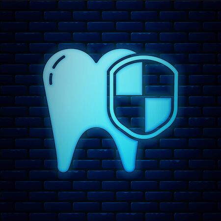 Glowing neon Dental protection icon isolated on brick wall background. Tooth on shield. Vector Illustration Stockfoto - 136740442