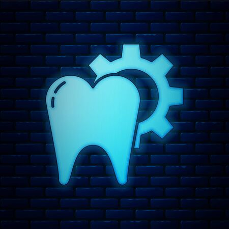 Glowing neon Tooth treatment procedure icon isolated on brick wall background. Tooth repair with gear. Vector Illustration