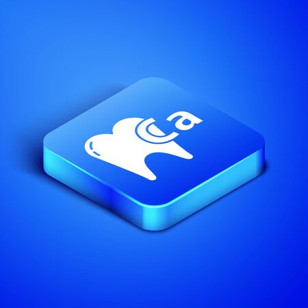 Isometric Calcium for tooth icon isolated on blue background. Tooth symbol for dentistry clinic or dentist medical center. Blue square button. Vector Illustration