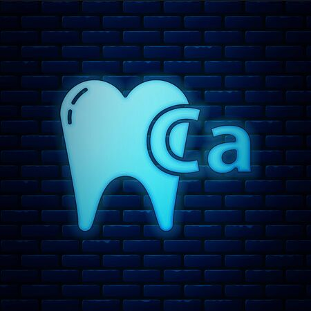Glowing neon Calcium for tooth icon isolated on brick wall background. Tooth symbol for dentistry clinic or dentist medical center. Vector Illustration Ilustração
