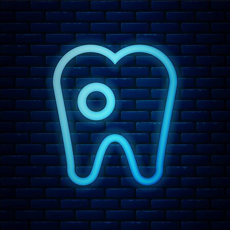 Glowing neon Tooth with caries icon isolated on brick wall background. Tooth decay. Vector Illustration