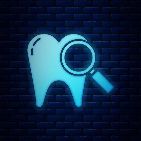 Glowing neon Dental search icon isolated on brick wall background. Tooth symbol for dentistry clinic or dentist medical center. Vector Illustration Stock Illustratie
