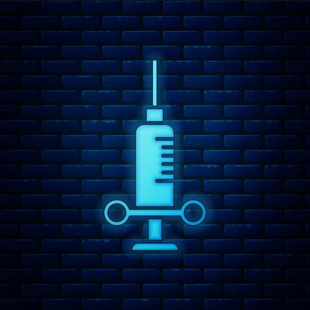 Glowing neon Dental medical syringe with needle icon isolated on brick wall background. Vector Illustration