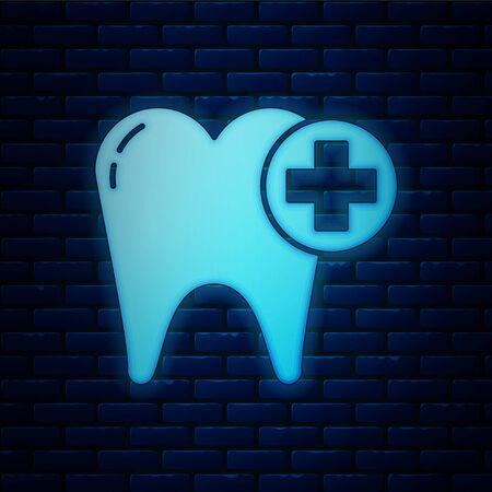 Glowing neon Tooth icon isolated on brick wall background. Tooth symbol for dentistry clinic or dentist medical center and toothpaste package. Vector Illustration Stockfoto - 136739652