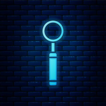 Glowing neon Dental inspection mirror icon isolated on brick wall background. Tool dental checkup. Vector Illustration Ilustração