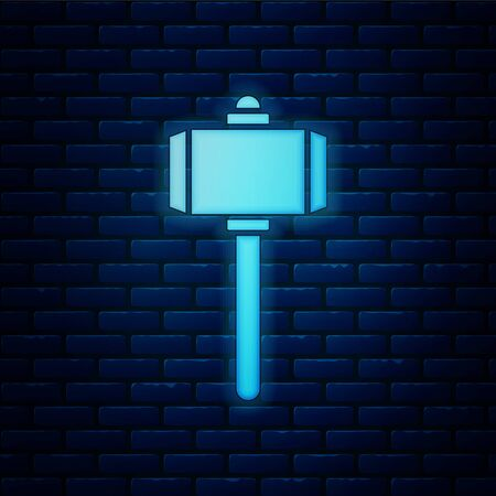 Glowing neon Battle hammer icon isolated on brick wall background. Vector Illustration