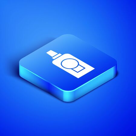Isometric Mouthwash plastic bottle icon isolated on blue background. Liquid for rinsing mouth. Oralcare equipment. Blue square button. Vector Illustration