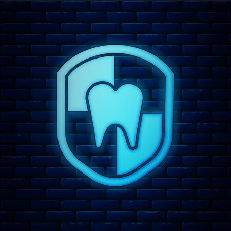 Glowing neon Dental protection icon isolated on brick wall background. Tooth on shield. Vector Illustration Stock Illustratie
