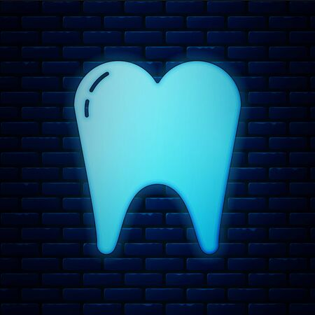 Glowing neon Tooth icon isolated on brick wall background. Tooth symbol for dentistry clinic or dentist medical center and toothpaste package. Vector Illustration Stock Illustratie