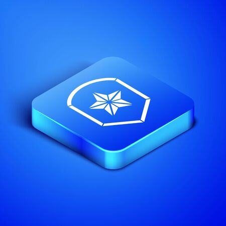 Isometric Police badge icon isolated on blue background. Sheriff badge sign. Shield with star symbol. Blue square button. Vector Illustration