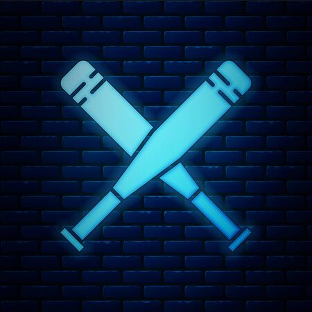 Glowing neon Crossed baseball bat icon isolated on brick wall background. Vector Illustration