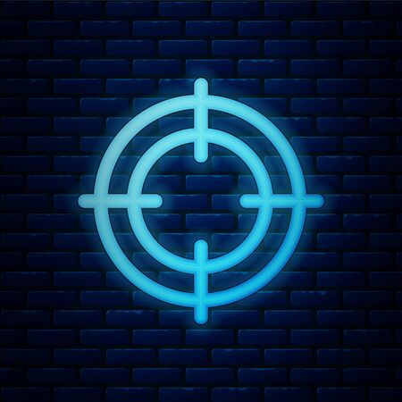 Glowing neon Target sport icon isolated on brick wall background. Clean target with numbers for shooting range or shooting. Vector Illustration