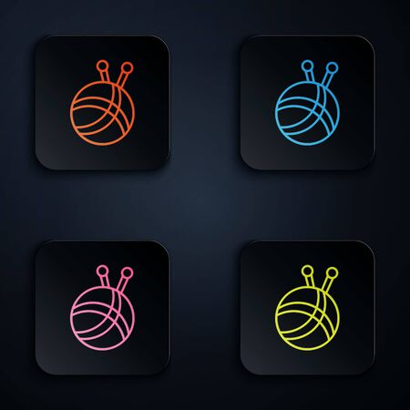 Color neon line Yarn ball with knitting needles icon isolated on black background. Label for hand made, knitting or tailor shop. Set icons in colorful square buttons. Vector Illustration