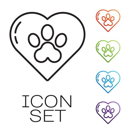 Black line Heart with animals footprint icon isolated on white background. Pet paw in heart. Love to the animals. Set icons colorful. Vector Illustration