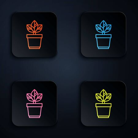 Color neon line Flowers in pot icon isolated on black background. Plant growing in a pot. Potted plant sign. Set icons in colorful square buttons. Vector Illustration