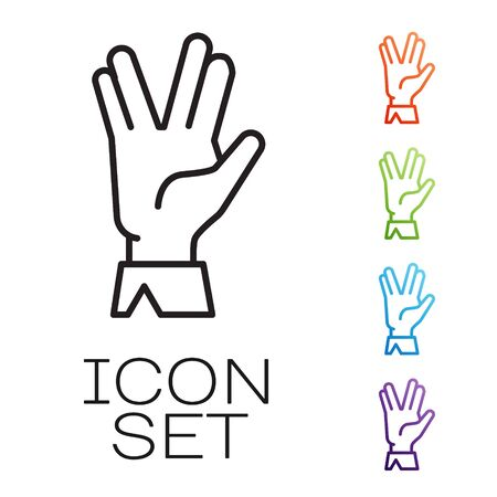 Black line Vulcan salute icon isolated on white background. Hand with vulcan greet. Spock symbol. Set icons colorful. Vector Illustration