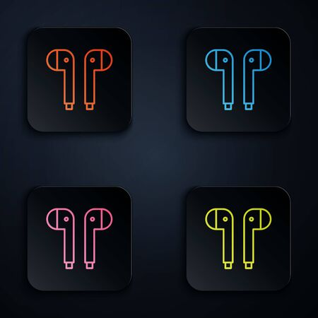 Color neon line Air headphones icon icon isolated on black background. Holder wireless in case earphones garniture electronic gadget. Set icons in colorful square buttons. Vector Illustration Çizim