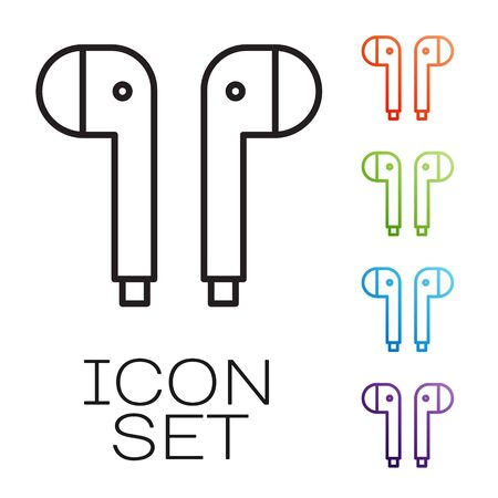 Black line Air headphones icon icon isolated on white background. Holder wireless in case earphones garniture electronic gadget. Set icons colorful. Vector Illustration