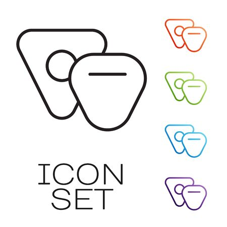 Black line Guitar pick icon isolated on white background. Musical instrument. Set icons colorful. Vector Illustration