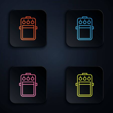 Color neon line Guitar pedal icon isolated on black background. Musical equipment. Set icons in colorful square buttons. Vector Illustration