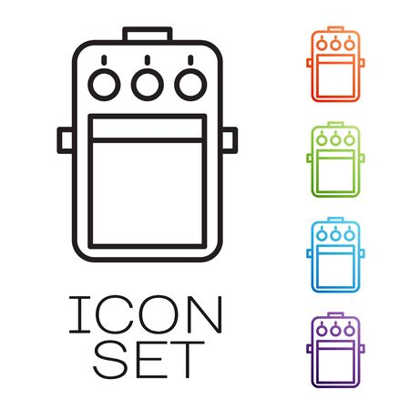 Black line Guitar pedal icon isolated on white background. Musical equipment. Set icons colorful. Vector Illustration