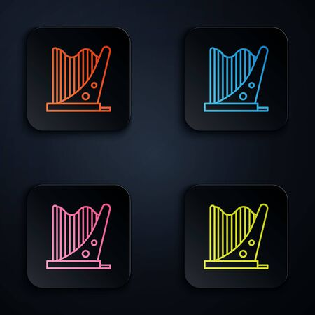 Color neon line Harp icon isolated on black background. Classical music instrument, orhestra string acoustic element. Set icons in colorful square buttons. Vector Illustration