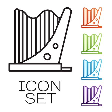 Black line Harp icon isolated on white background. Classical music instrument, orhestra string acoustic element. Set icons colorful. Vector Illustration Vectores