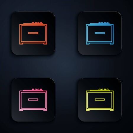 Color neon line Guitar amplifier icon isolated on black background. Musical instrument. Set icons in colorful square buttons. Vector Illustration