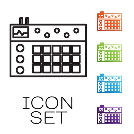 Black line Drum machine icon isolated on white background. Musical equipment. Set icons colorful. Vector Illustration Ilustrace