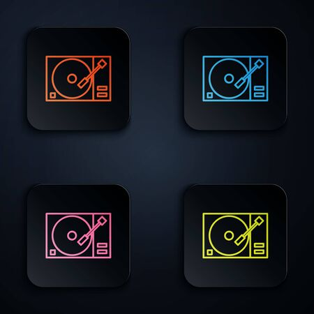 Color neon line Vinyl player with a vinyl disk icon isolated on black background. Set icons in colorful square buttons. Vector Illustration